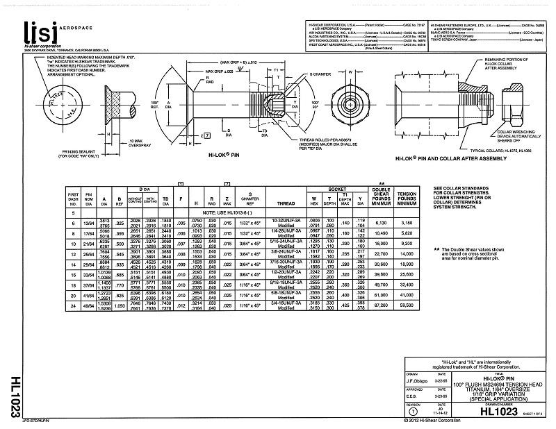 hi-lok fasteners - hl1023 hi-lok pin